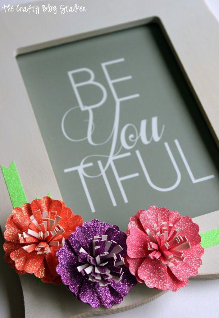 Glitter Paper Flower Frame with American Crafts | Flower frame ...