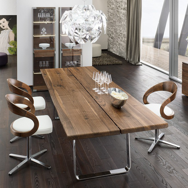 Team 7 Nox Dining Table Chrome Legs Modern Dining Table