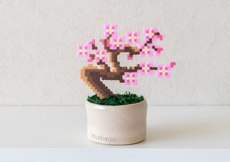 Sakura Bonsai Tree Pixel Plant In A Pot Artificial Cherry Blossom Potted Plant Perler Hama Beads Wedding Centerpiece Pixel Art Faux Plant In 2021 Perler Bead Templates Perler Bead Art Beading Patterns
