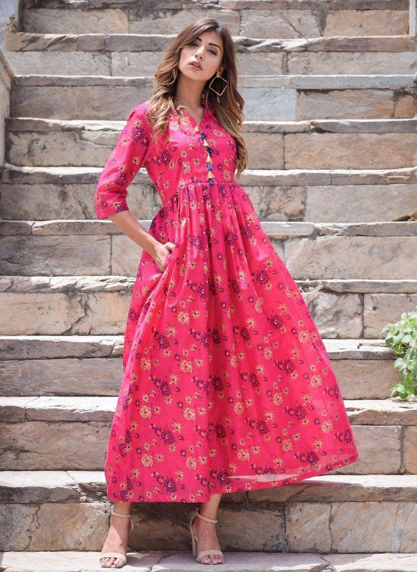 Fuschia Floral Chanderi Maxi Dress Dresses Maxi Dress Fashion [ 1165 x 850 Pixel ]