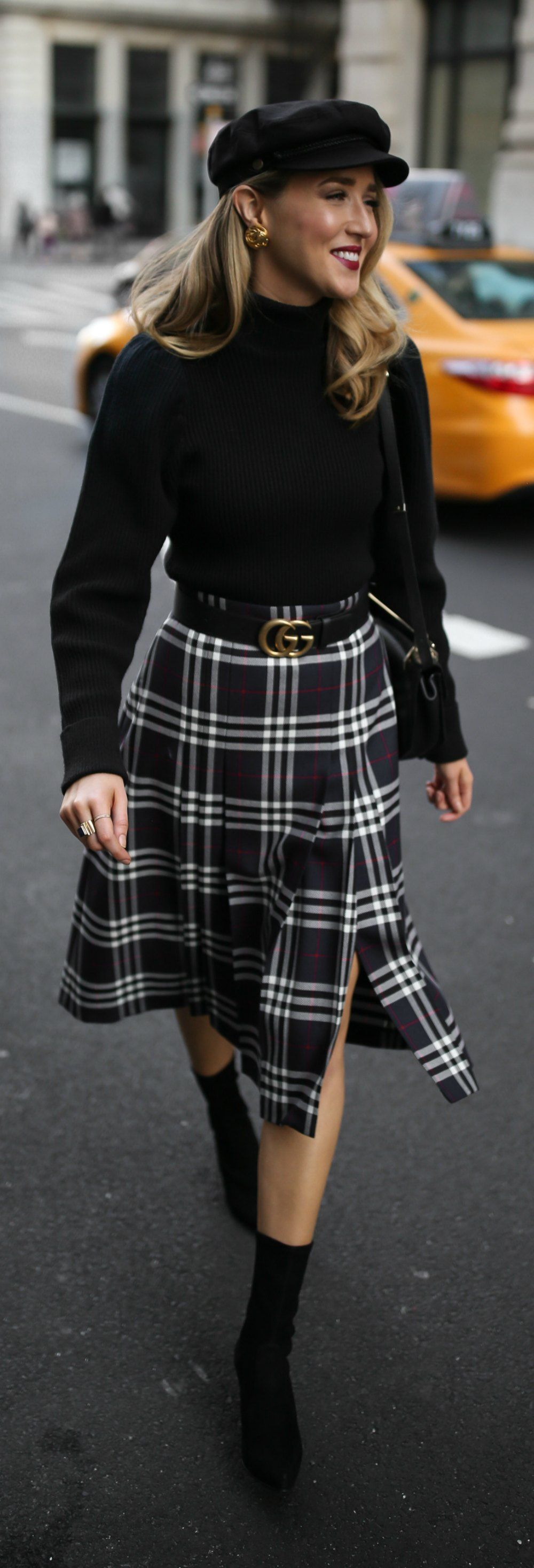 ff44d9470870 Classic Fall Style // Pleated plaid midi skirt, black puffed-shoulder  turtleneck, black sock boots, baker boy cap and black leather waist belt { Burberry, ...