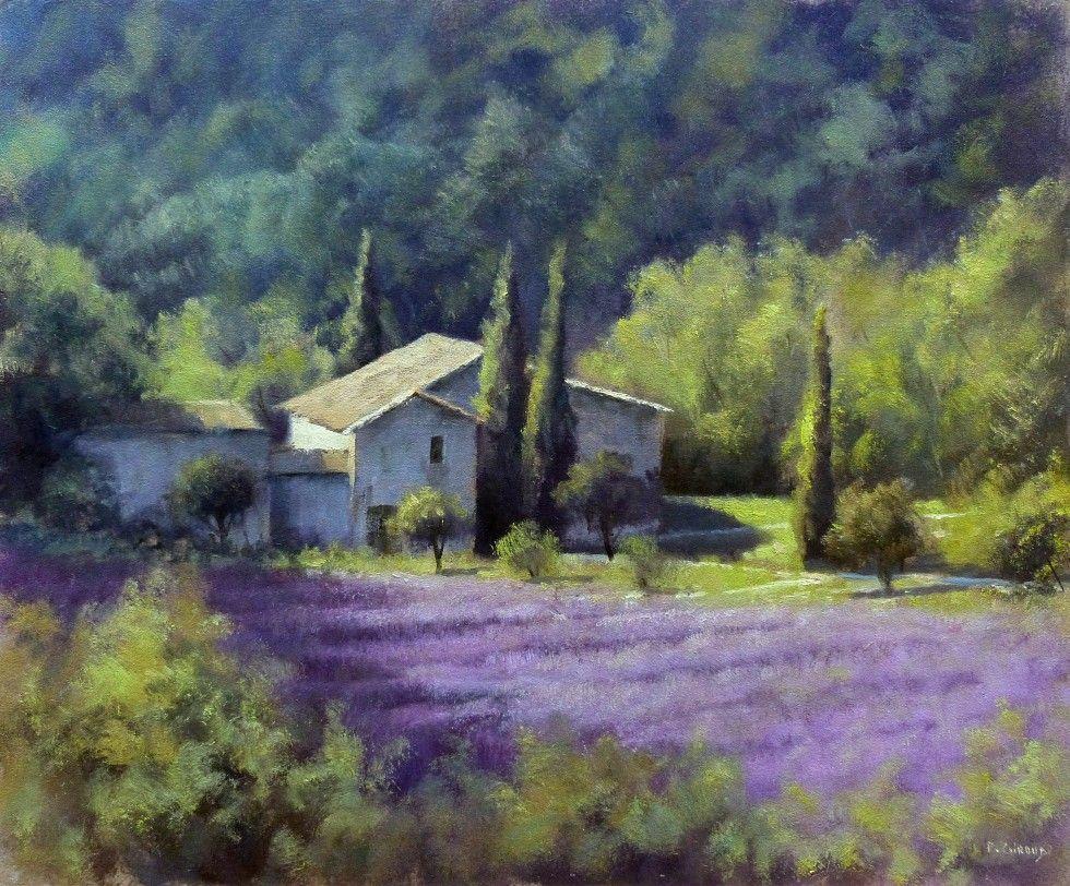 Tableau - Peinture : Mas et Lavandes en Provence - Huile sur Panneau - 46 x 38 cm (8F ...