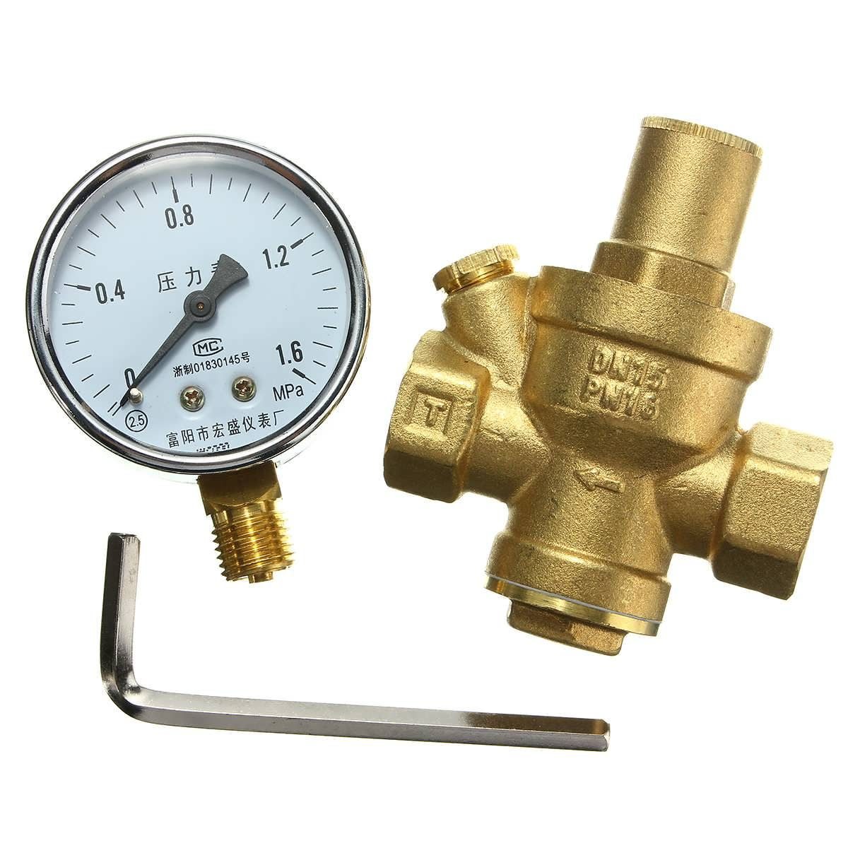 Dn15 1 2inch Bspp Brass Water Pressure Reducing Valve With Gauge Flow Adjustable Worldwide Delivery Original Best Quality Prod Valve Cool Things To Buy Brass