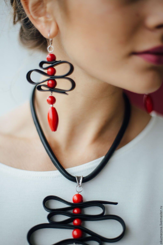 Photo of Jewelry set leather AI. Necklace, bracelet, earrings – купить на Ярмарке Мастеров – A2O4VCOM | Jewelry Sets, Vladimir