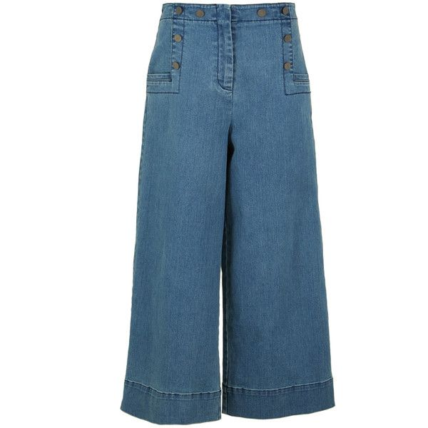 Tibi Denim Sailor Pants ($350) ❤ liked on Polyvore featuring ...