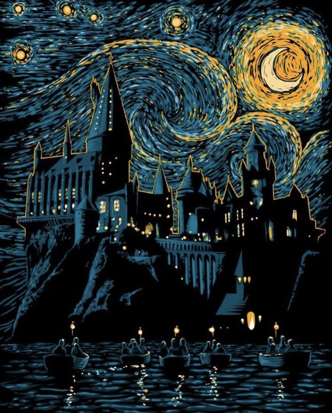 Noche Estrellada En Hogwarts Arte De Harry Potter Harry Potter Fondos De Pantalla Pinturas