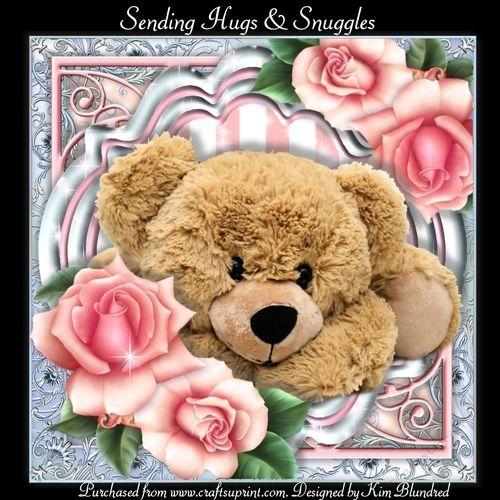 /'Pink Bear Hugs/' card Blank