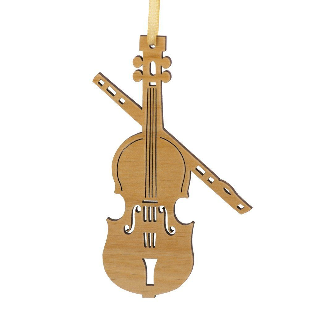 Violin christmas ornaments - Amazon Com Advent Ornaments Violin Laser Cut Wood Christmas Tree Ornament