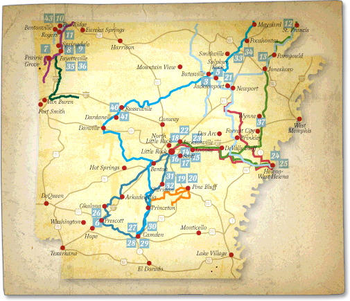 Heritage Trails in Arkansas - Heritage Trail Map - History