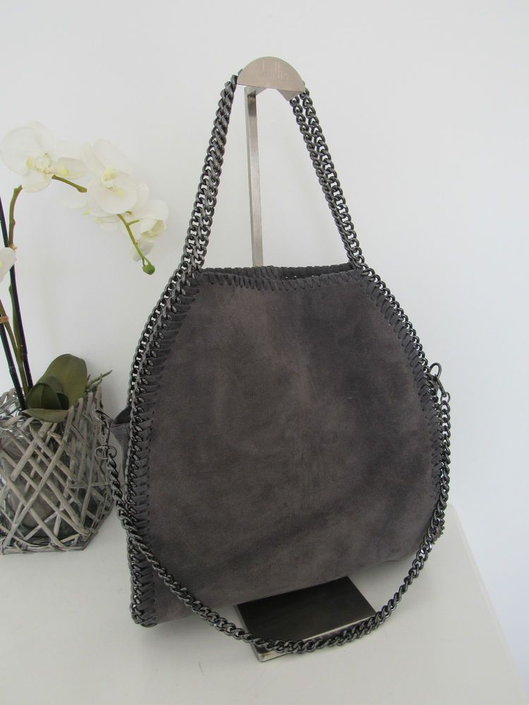 149a3733da583b Luxus Damentasche Bella Tasche Kette Bag Chain Wildleder grau grey Trend  2015