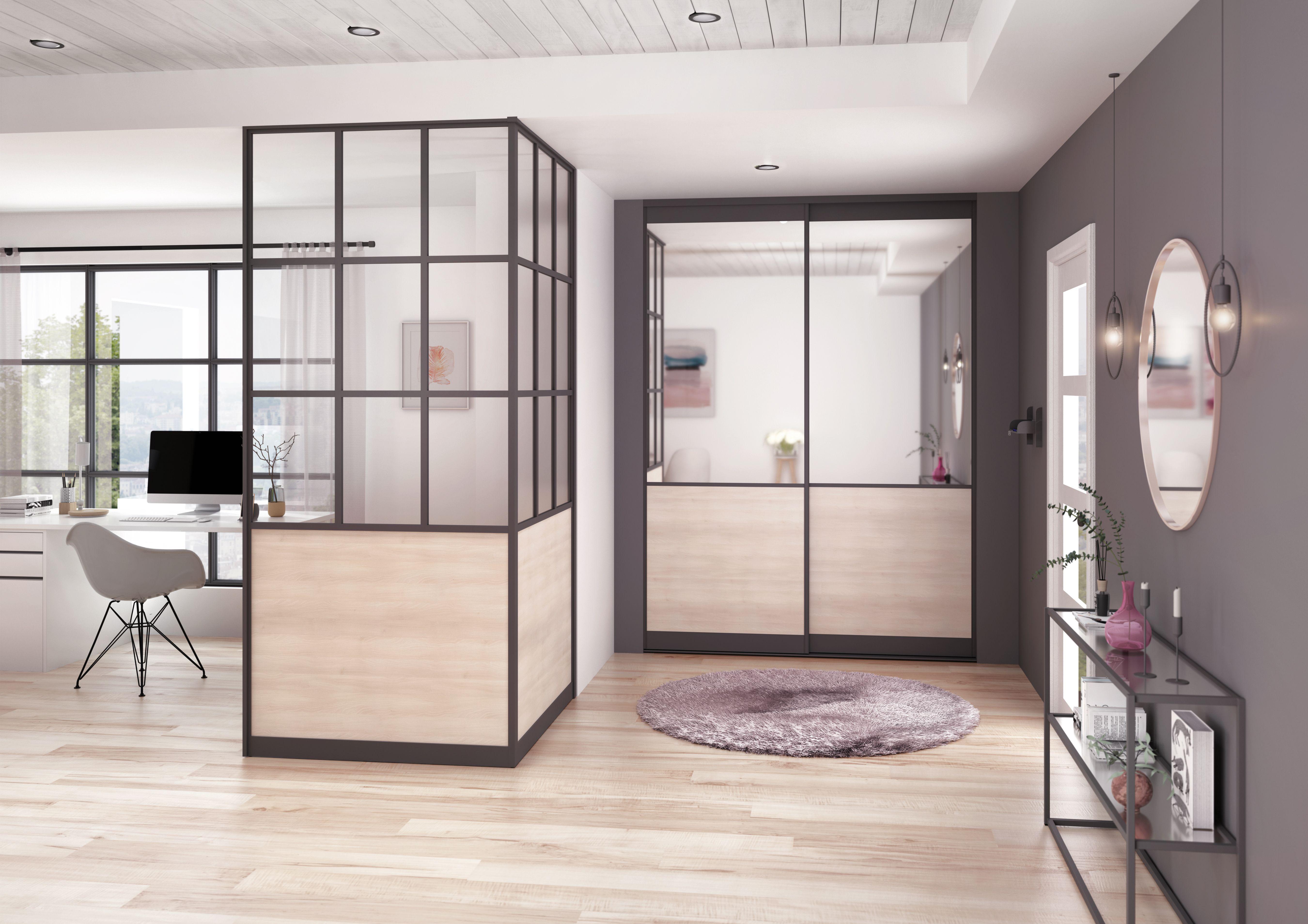 Une Entree Elegante Dans Un Style Atelier Raffine Porte Placard Porte Coulissante Porte Placard Coulissante