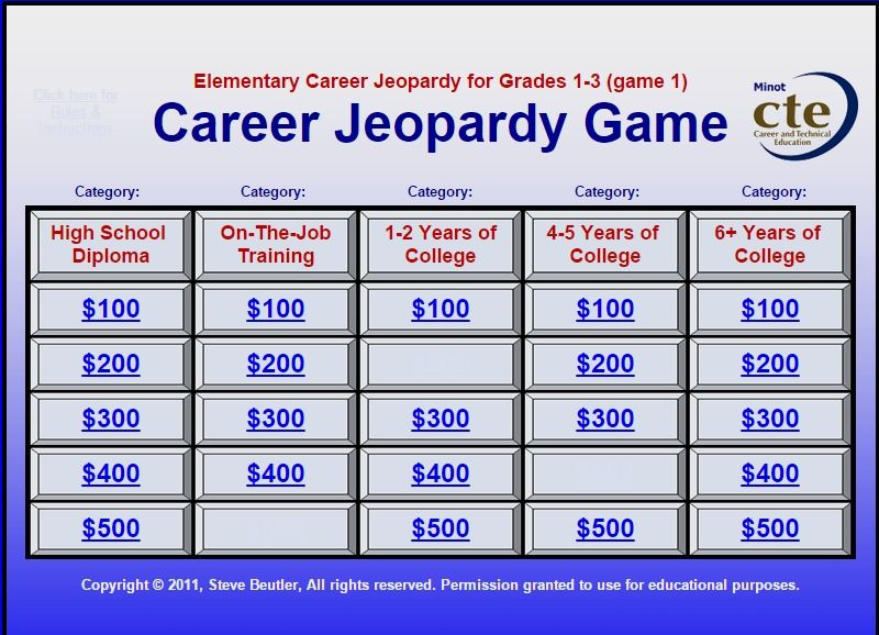 Career Jeopardy Game  Youngmoney Financial Literacy
