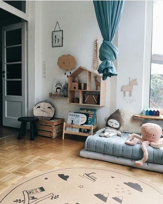 Runder Teppich für Baby Mädchen Kinderzimmer, Kinder-Dekor, Baby-Dusche, Kinderzimmer, minimalistisches Design, Hygge, skandinavischen Stil, Kork, 4'26, 130 cm #salledejeuxenfant