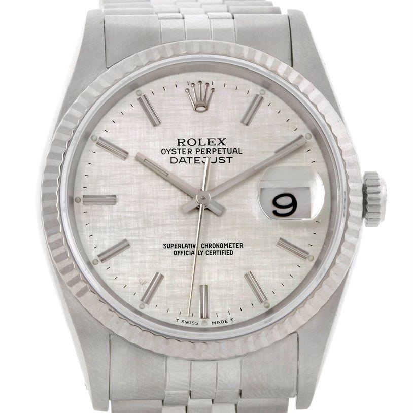 rolex datejust steel 18k white gold silver linen dial mens watch rolex datejust steel 18k white gold silver linen dial mens watch 16234