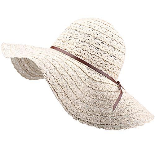 Summer Women Lace Sun Hat Foldable Wide Large Brim Elegant Ladies Beach Cap