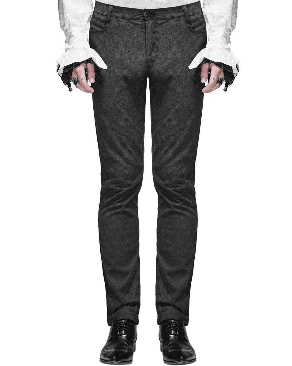 Devil Fashion Men Trousers Pants Black Brocade Gothic Steampunk Aristocrat punk