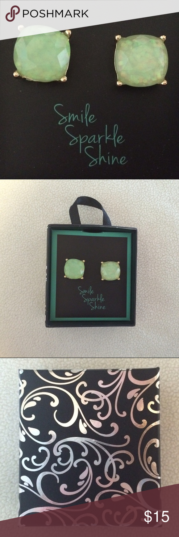 """Mint Glitter Earrings New retail earrings. These are a light mint color and are half an inch tall. They come in a cute gift box that says """"Smile, Sparkle, Shine"""". Jewelry Earrings"""