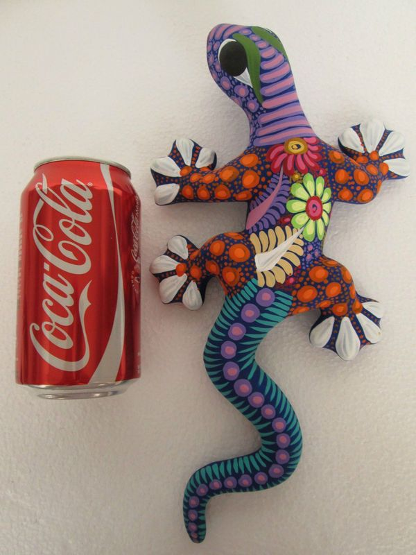 Clay Lizard Hand Painted Colored Mexican Folk Art Pottery