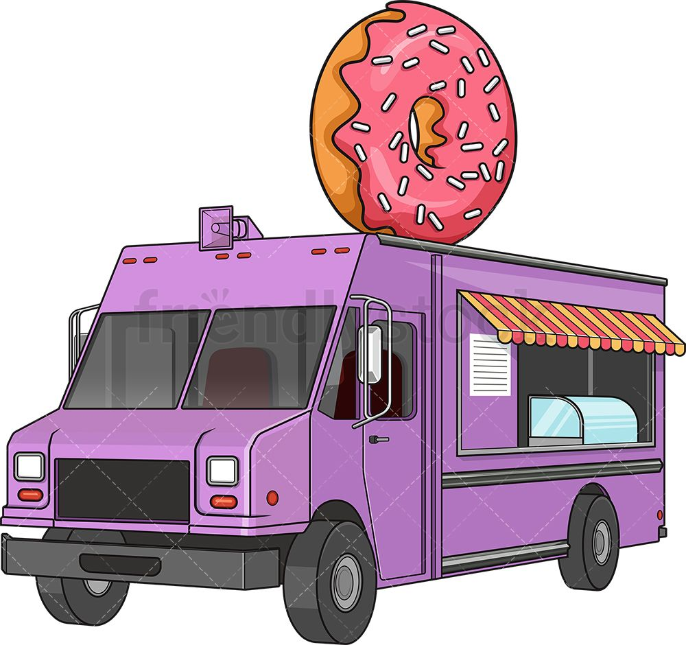 Donut Food Truck Food Truck Cartoons Vector Purple Food