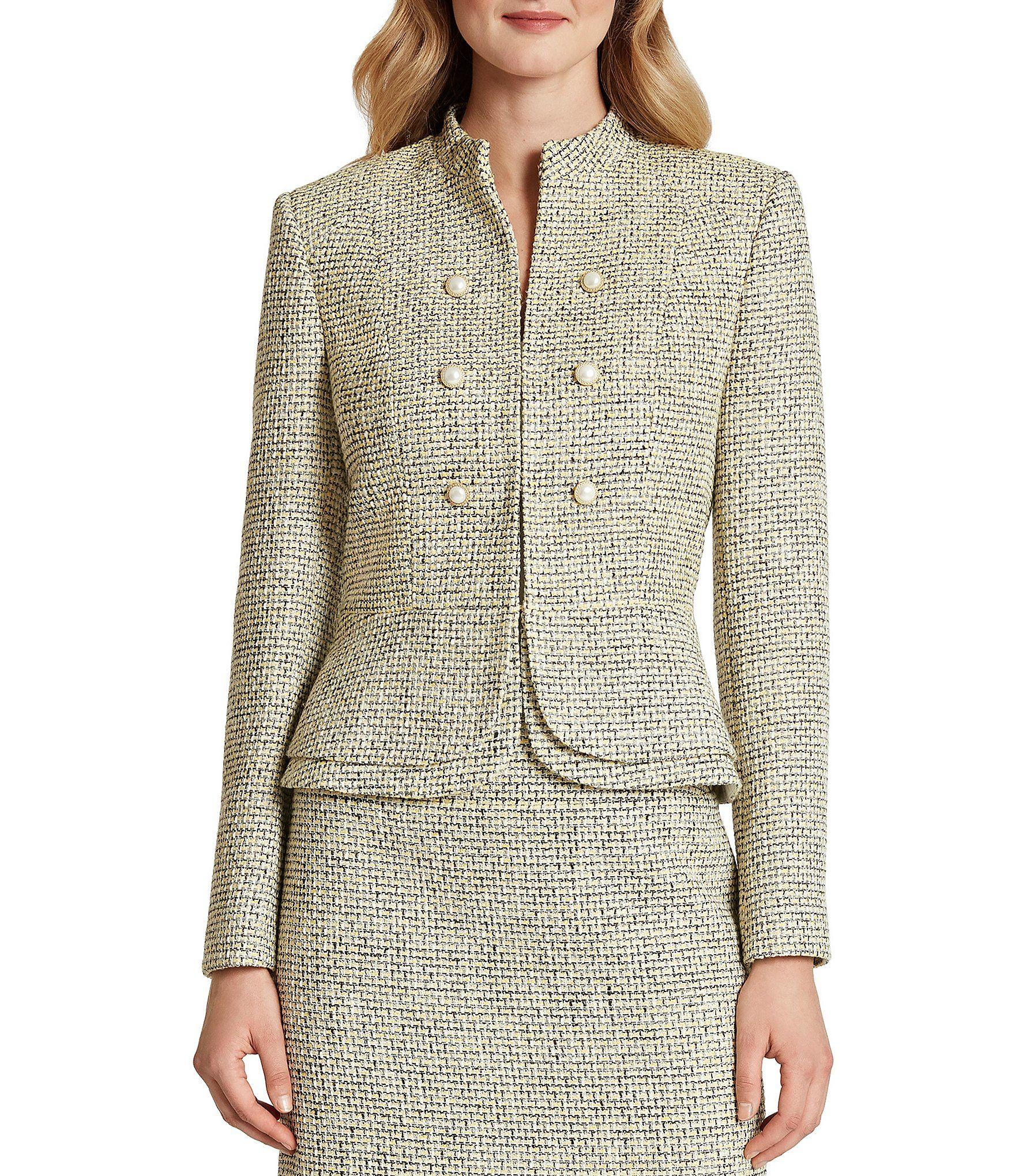 Tahari ASL Shimmer Tweed Long Sleeve Tiered Peplum Jacket