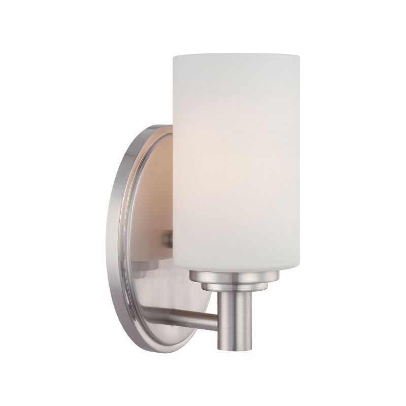 "Bathroom Sconces Brushed Nickel thomas lighting 1900232 pittman 9"" tall single light bathroom wall"