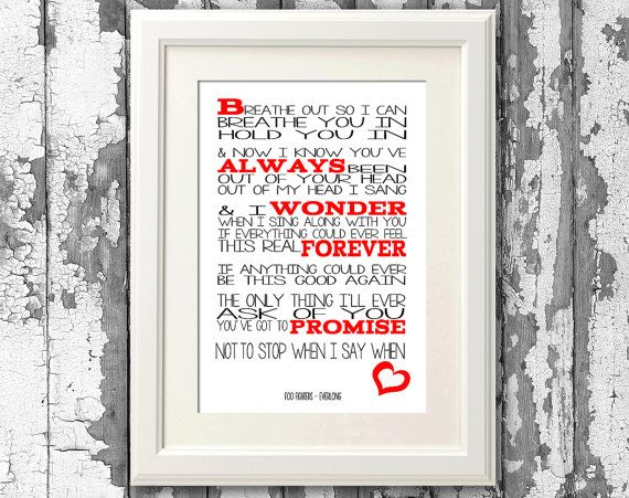 Foo Fighters - Everlong 8x10 picture mount & Print Typography song ...