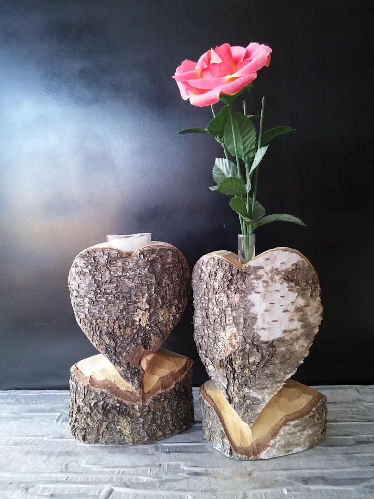 Holzherz Mit Rinde Erhaltlich Als Vase Oder Teelichthalter Holz Herz Holzherz Deko Holz Schnitzen