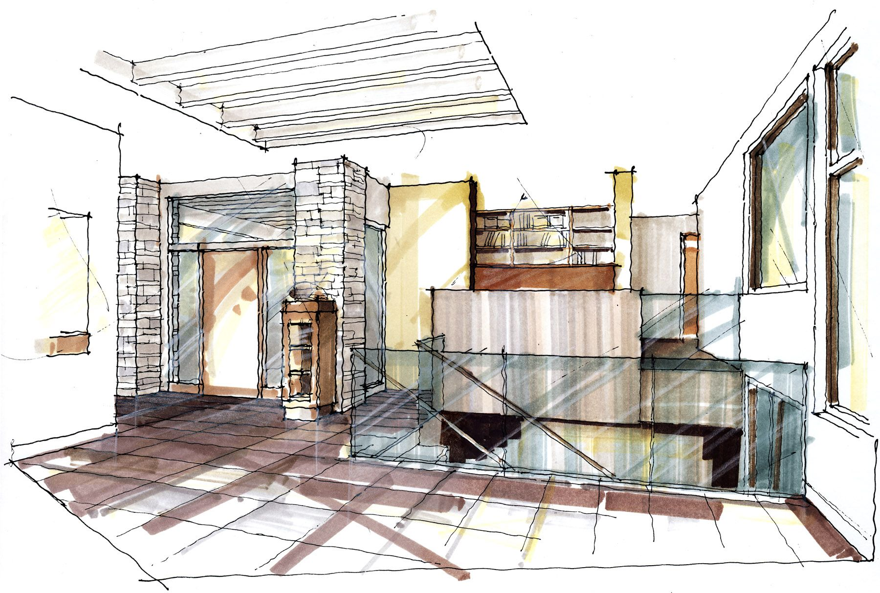 Interior rendering of a modern home that was completed almost 2 years ago and that won several awards at the gohba in 2011 christopher simmonds architect