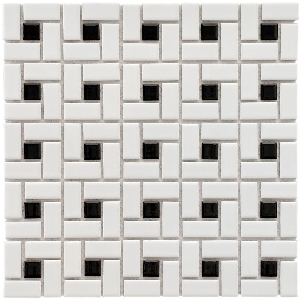 Merola Tile Spiral Black And White 1212 Inx 1212 Inx 6 Mm Amusing Black And White Mosaic Tile Bathroom Inspiration Design