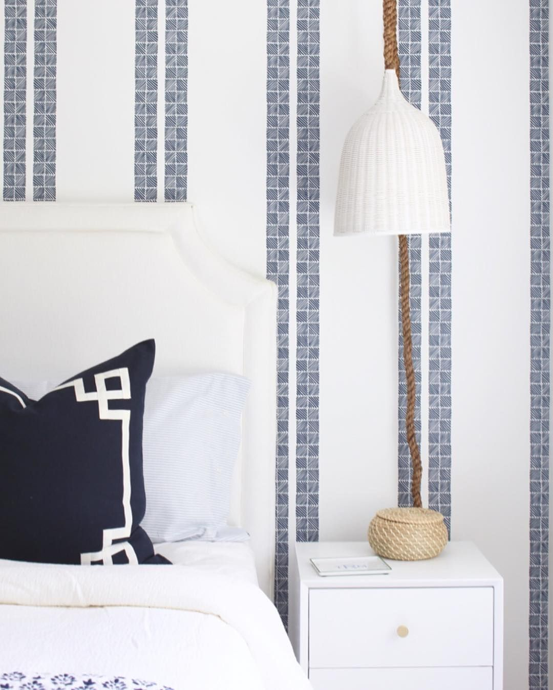 Blue and white bedroom with DIY pendants Serena and lily