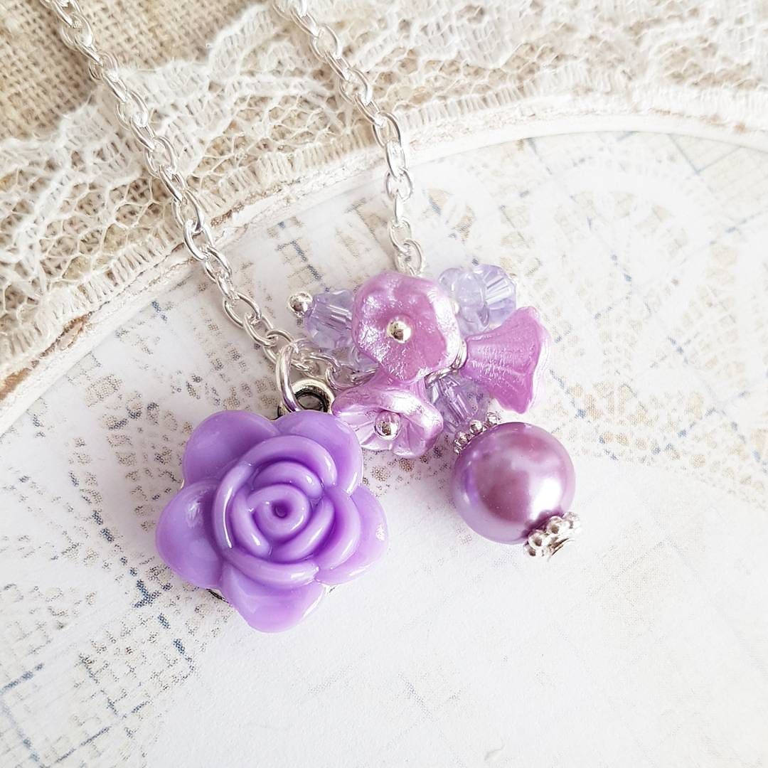 Purple flower girl necklaces #handmade #jewelry #wedding #bridal #flowergirl #weddings #necklace #purple #children #kids #etsyshop #etsy #crafts #craft #crystals #pearls #flower #floral #roses #romanticcrafts