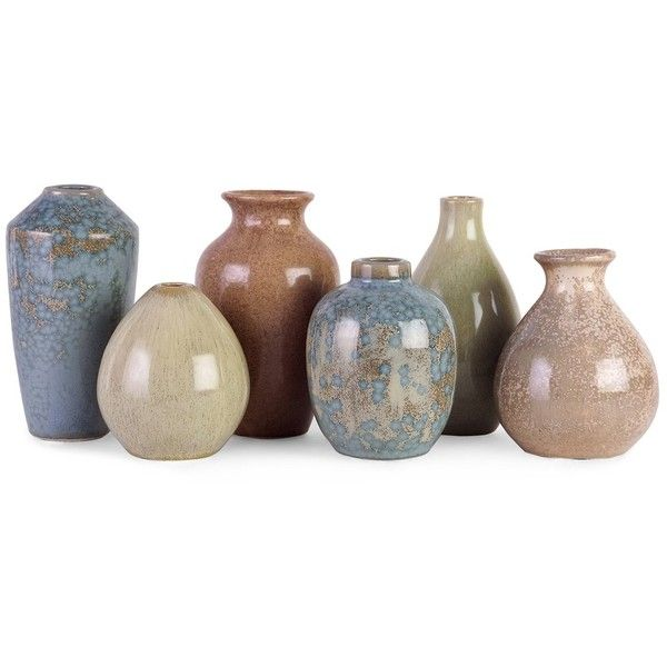 Elements Mini Vase Set of 6 ($57) ❤ liked on Polyvore featuring home, home decor, vases, ceramic home decor, ceramic vase, miniature vase and mini vases