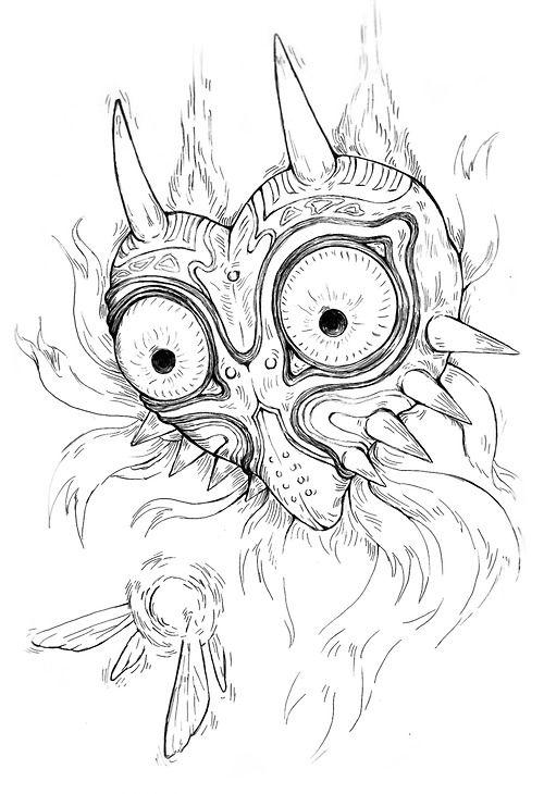 Majora's Mask Drawing : majora's, drawing, Majora's, Zelda, Tattoo,, Majoras