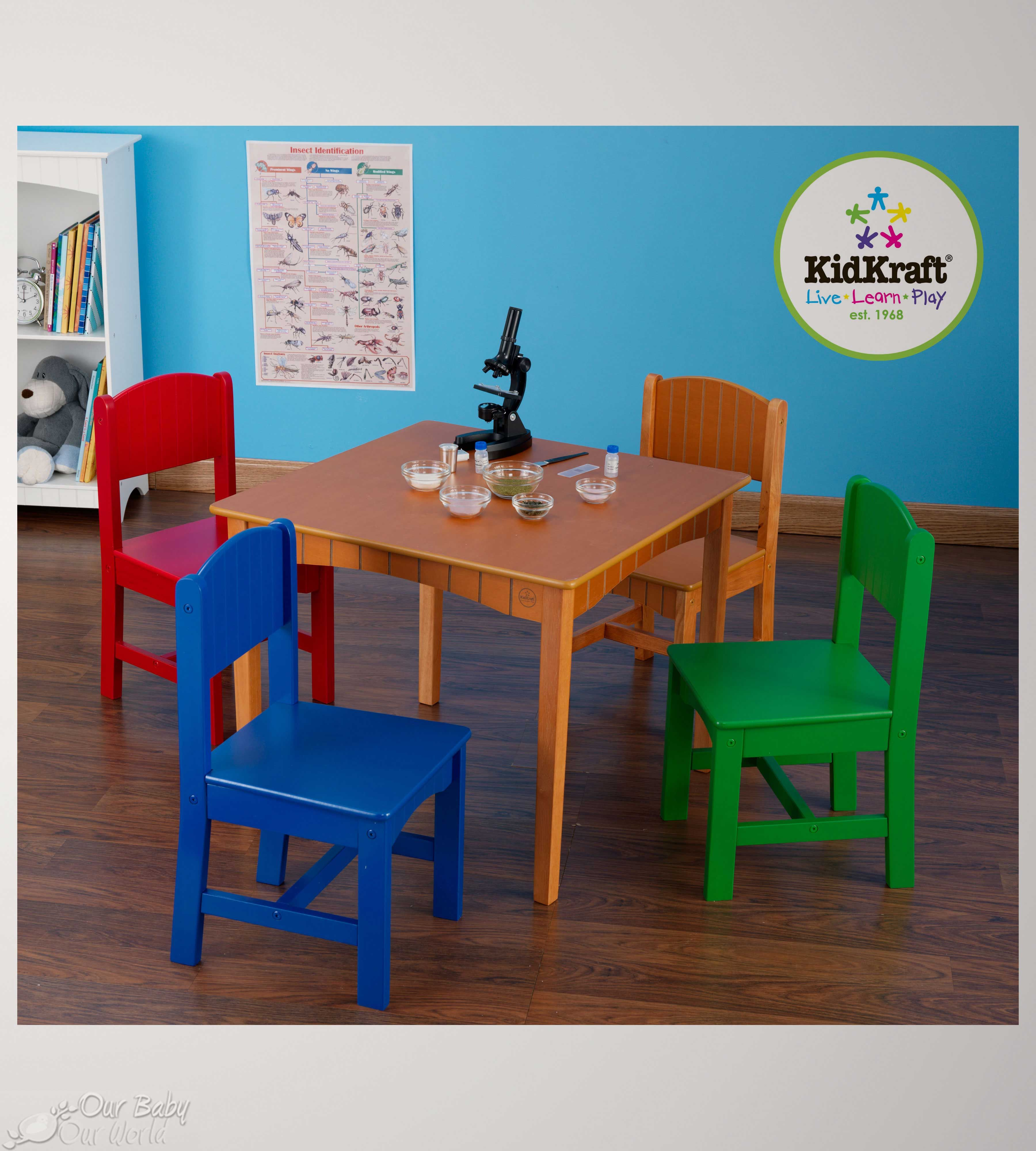 Nantucket Table & 4 Chairs in Primary Kids table chair
