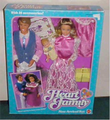 80's The Heart Family Barbie Dolls. The mom had a pregnancy smock!!