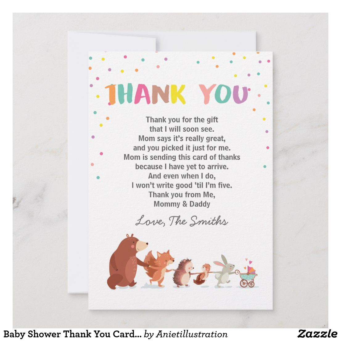 Baby shower thank you card woodland gender neutral in 2020