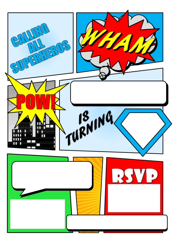 Vibrant image with free printable super hero invitations