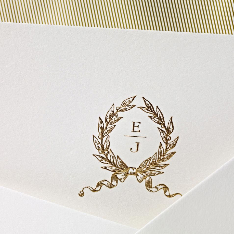 Hand Engraved Embassy Wedding Invitation With Monogram