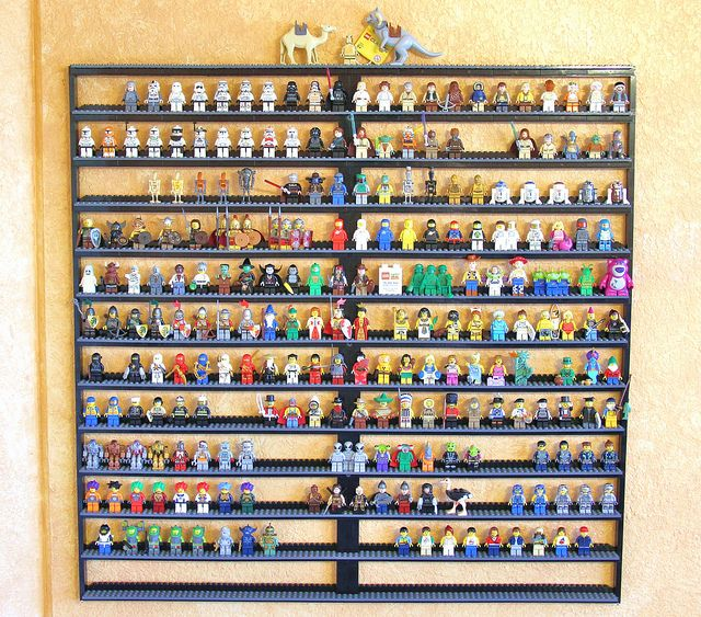Custom Lego minifigure display case w/o front so that child can get to it easily to play