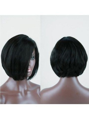 side part short bob straight synthetic wig  bob lace