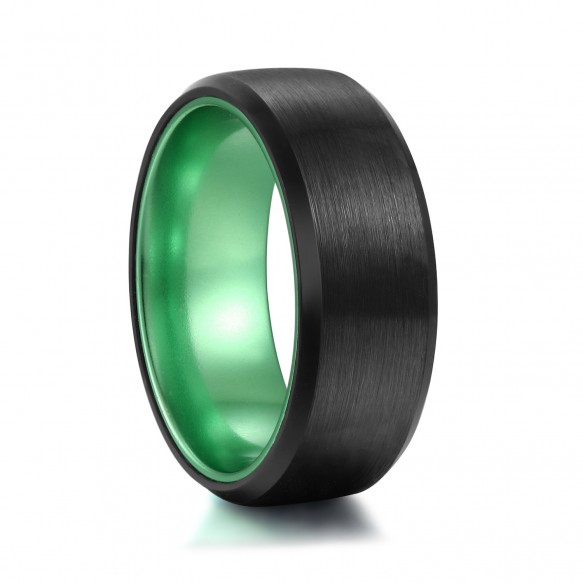 Mens Green Wedding Band with Black Brushed (With images