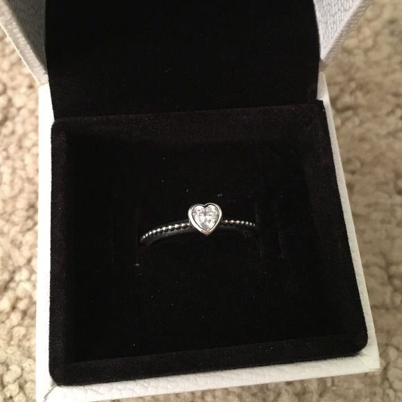 Authentic pandora silver heart ring heart shapes for Heart ring box