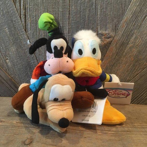 Terrific Vintage Pluto Donald Duck Goofy Bean Babies Mickey Mouse Customarchery Wood Chair Design Ideas Customarcherynet