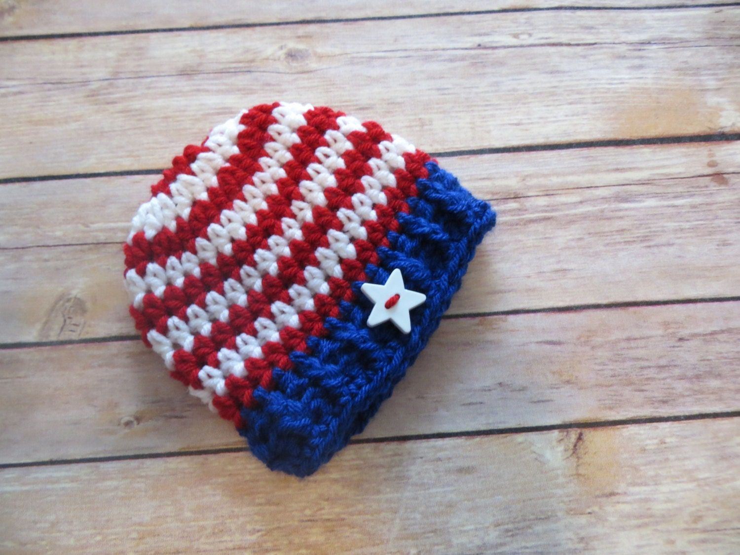 Crochet patriotic hat, bringing home baby hat, July 4th Hat, Shower Gift, Photo Props, preemie to toddler, armed forces patriotic hat