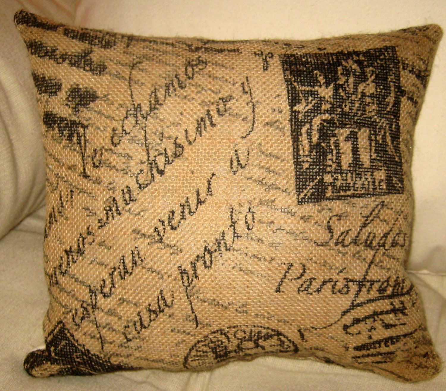 Throw Pillows With French Script : French Script Burlap Pillow, French Country Shabby Chic Neutral Cushion, Paris Inspired Home ...