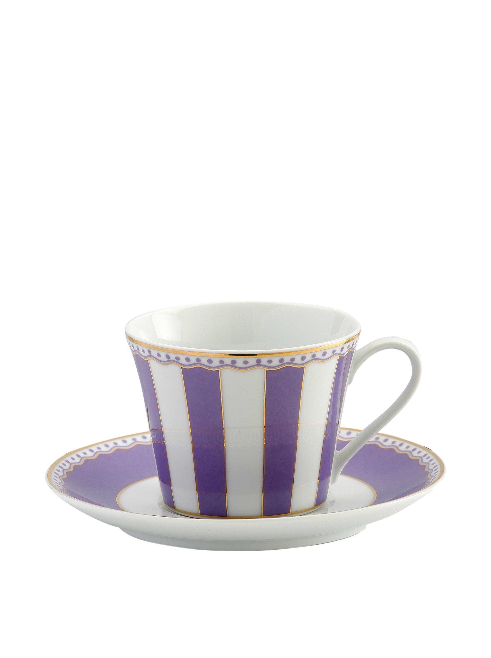 Noritake Carnivale 8-Oz. Cup & Saucer, White/Lavender at MYHABIT