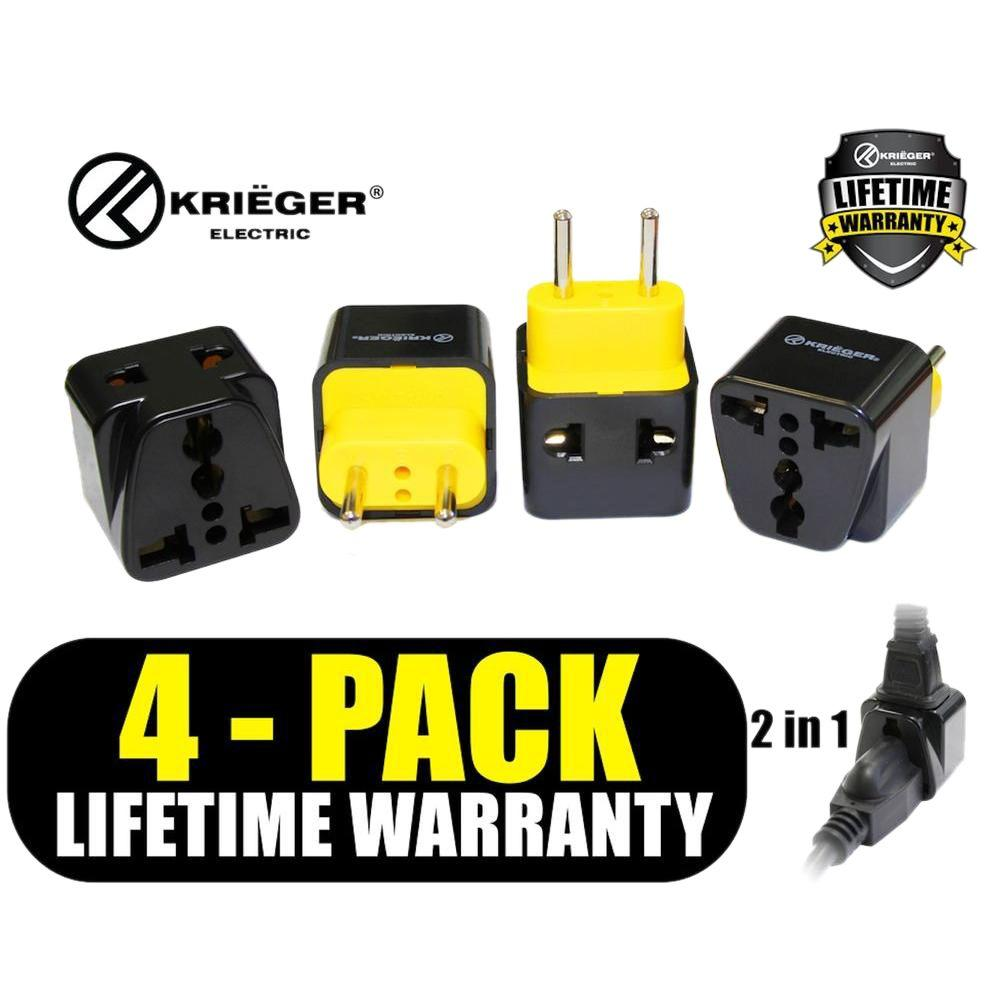 Universal to European 2-in-1 Plug Adapter (4-Pack), Black/Yellow