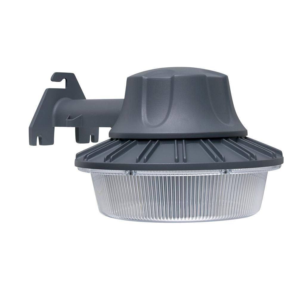 Defiant 46 Watt Gray Outdoor Integrated Led Area Light Wall Pole Mountable With Dusk To Dawn Control Dw9519gy A The Home Depot In 2020 Area Lighting Outdoor Lighting Outdoor Light Fixtures