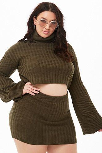 0bec6ffc251de Plus Size Ribbed Cropped Turtleneck   Skirt Set
