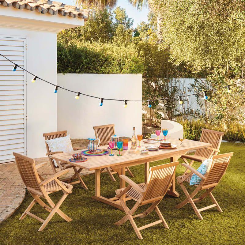 Tavolo da giardino allungabile con piano in legno L 170 x ...